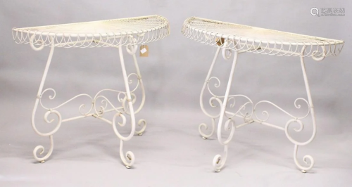 A GOOD PAIR OF WHITE PAINTED WIREWORK DEMILUNE TAB…