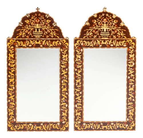 A Pair of Iberian Marquetry Mirrors