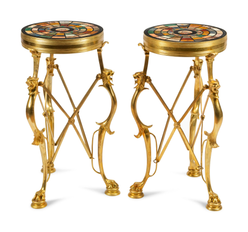 A Pair of Continental Gilt Bronze Tables with Specimen