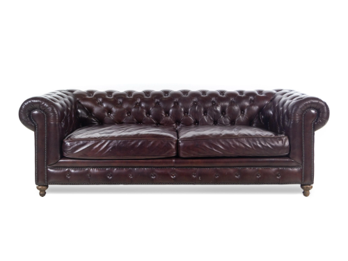 A Contemporary Tufted-Leather Upholstered Chesterfield