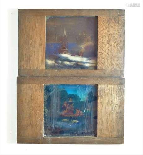 Mahogany-Mounted Chromolithographic Magic Lantern Slides, 4i...