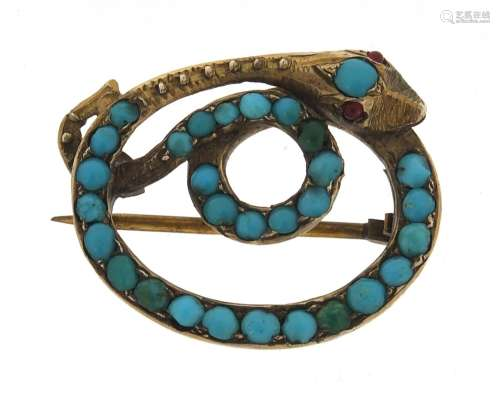 Antique gold coloured metal and turquoise serpent brooch, 2....