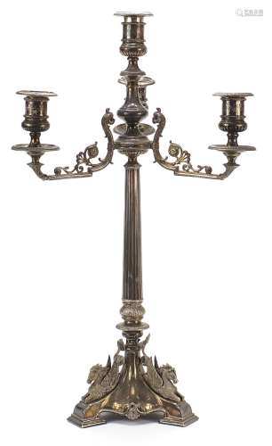 19th century silver plated four branch candelabra with reede...