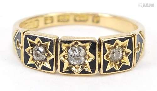 Victorian 18ct gold diamond and black enamel three stone mou...