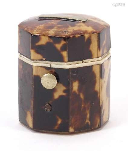 Georgian blonde tortoiseshell and ivory hexagonal ring box w...