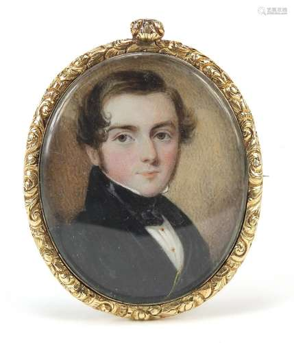 Georgian oval hand painted portrait miniature of a young gen...