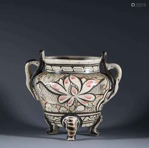 Three foot incense burner of Cizhou kiln in Song Dynasty
