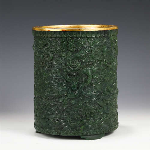 A CHINESE SPINACH JADE BRUSH POT