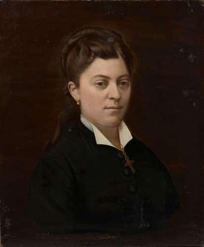 LEMAITRE (XIXe siècle).Portrait d'une élégante.Huile sur toi...