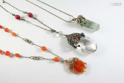 AN ARTS AND CRAFTS SILVER, CRYSTAL,MOONSTONE AND CARNELIAN P...