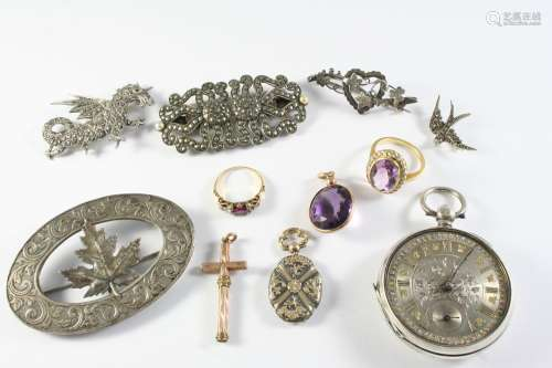 A QUANTITY OF JEWELLERY including a ruby and diamond ring, a...