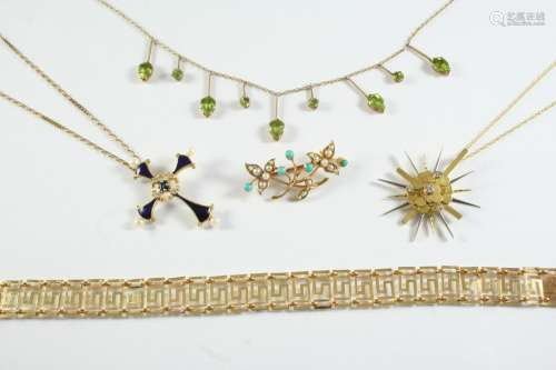A QUANTITY OF JEWELLERY including a two colour gold and diam...
