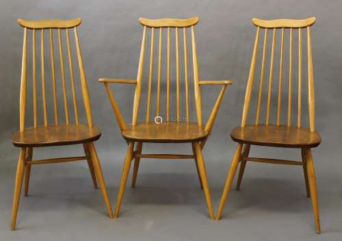 ERCOL DINING CHAIRS a set of four vintage light elm and beec...