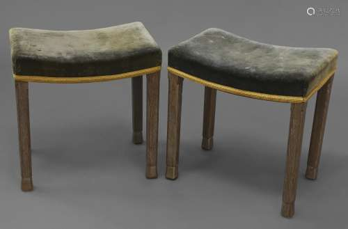 PAIR OF CORONATION STOOLS - QUEEN ELIZABETH a pair of limed ...