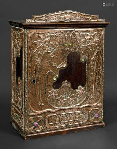ART NOUVEAU COPPER CABINET probably Continental, made in pin...