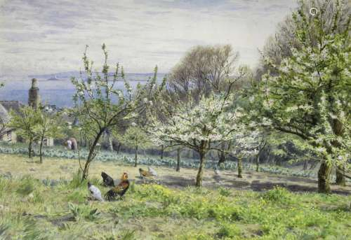 WILLIAM FOSTER (1853-1924) AN ORCHARD IN SPRINGTIME; A WALK ...