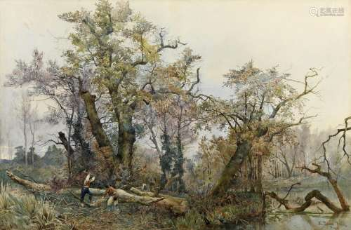 ETTORE ROESLER FRANZ (1845-1907) WOODCUTTERS, ITALY Signed a...