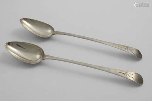 A PAIR OF GEORGE III OLD ENGLISH PATTERN BASTING SPOONS with...