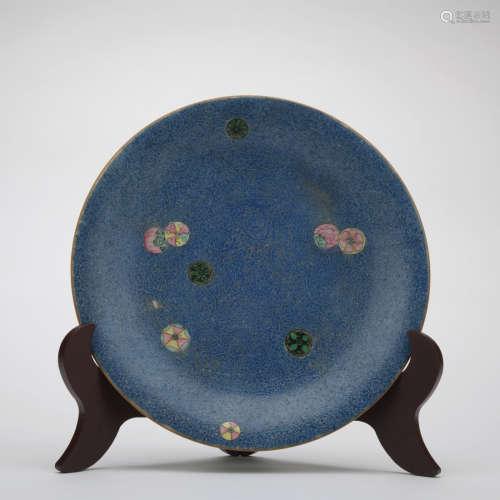 A blue glazed dish