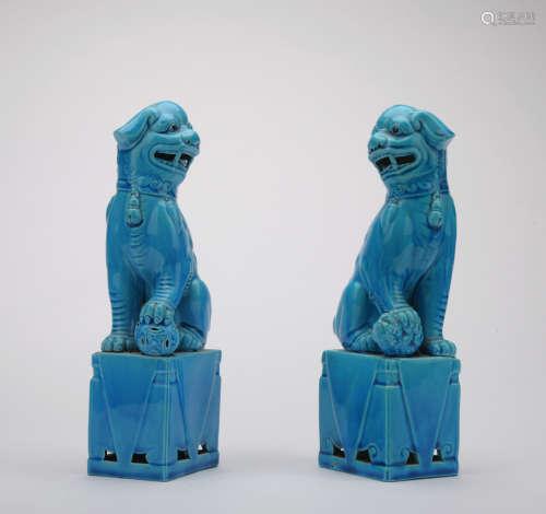 A pair of blue glazed lion