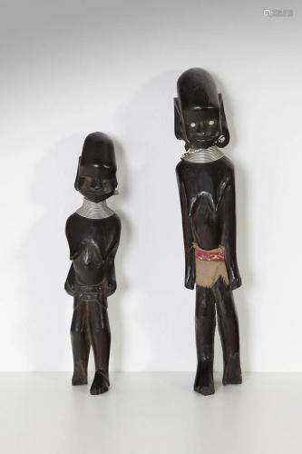 Arte africana Two ebony figurinesNigeria (?).