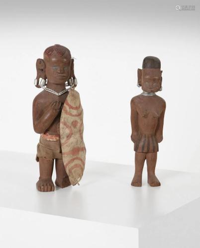 Arte africana Two wooden figurinesDemocratic Rep.