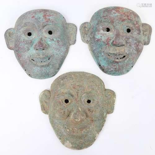 3 Roman style verdigris bronze theatrical masks, height 19cm...