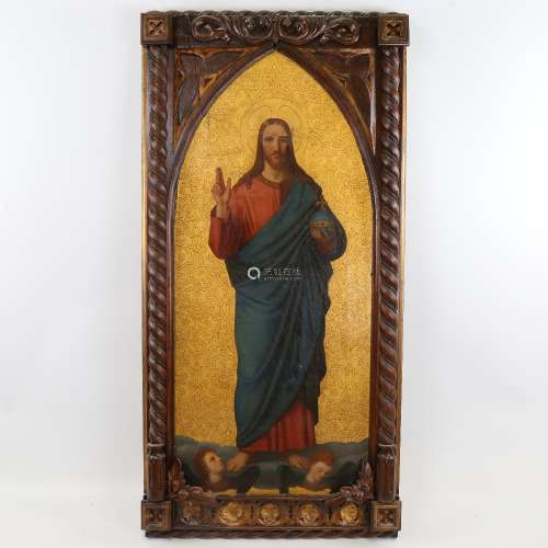 A 19th century hand painted and gilded religious plaque, dep...