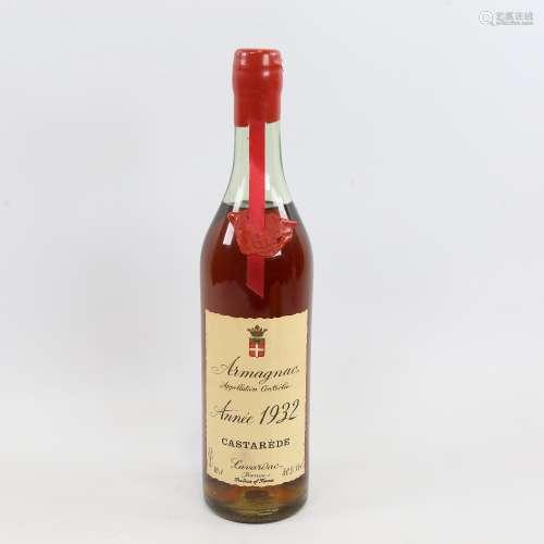 A bottle of Armagnac 1932 Castarede Lavardac, 70cl Wax cap i...