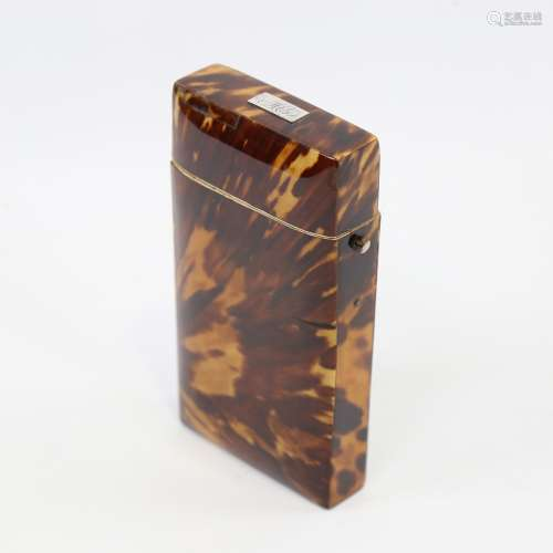 A Victorian tortoiseshell cigar case, with hinged lid and iv...