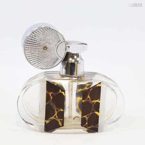 An Art Deco cut-glass atomiser perfume bottle, with chrome p...