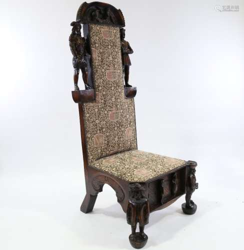 A unique 19th century carved oak Shakespeare hall chair, dec...