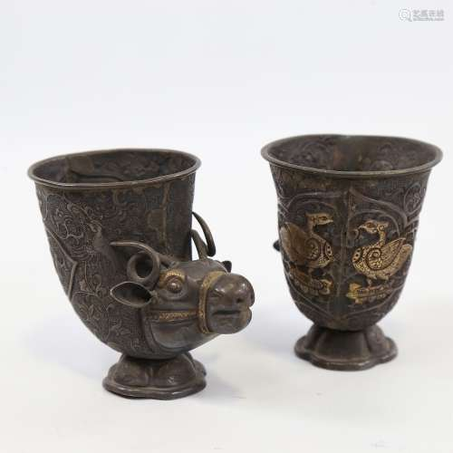 A pair of 19th century Indian or Middle Eastern unmarked sil...