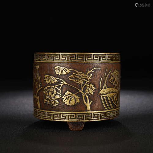 A gilt-bronze flowers incense burner