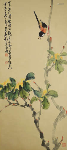 A chinese flowers and birds painting scroll, qi baishi mark