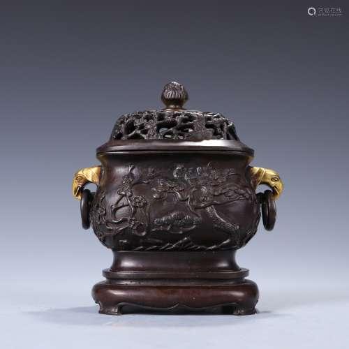 A bronze pine, bamboo and prunus incense burner