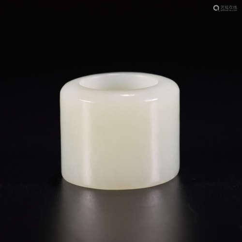 A hetian white jade thumb ring