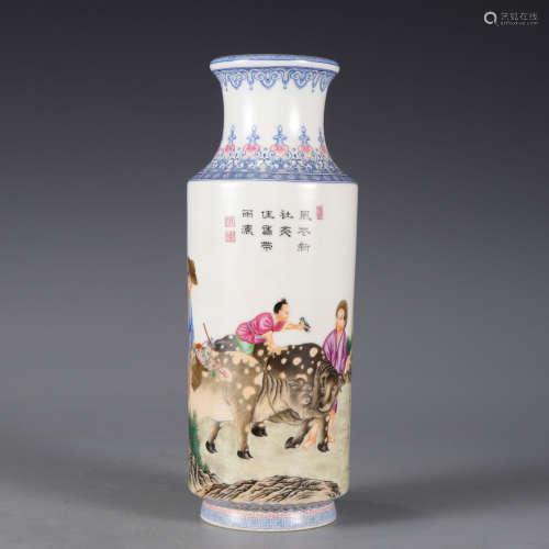 An enamelled herding rouleau vase