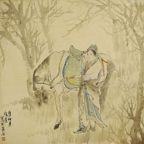 A chinese figures painting scroll, ren xun mark