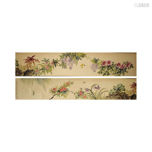 A chinese flowers and birds painting scroll, Mei lanfang mar...