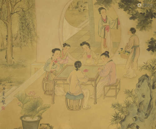 A chinese lady painting scroll, qiu ying mark