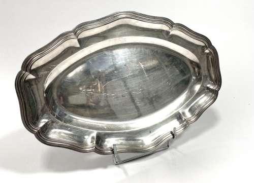 普通银质椭圆盘,边缘有棱纹标记的Minerva长:40 - 宽:26.5厘米重量...