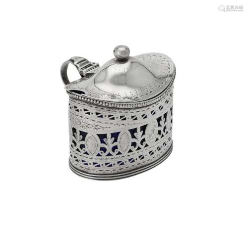 A George III silver oval mustard by Robert Hennell