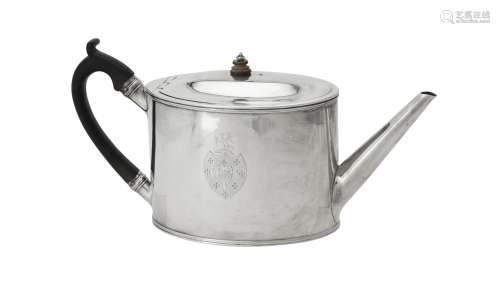 Y A George III silver straight sided oval tea pot by William...