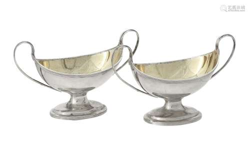 A pair of George III silver oval salts by Charles Chesterman...