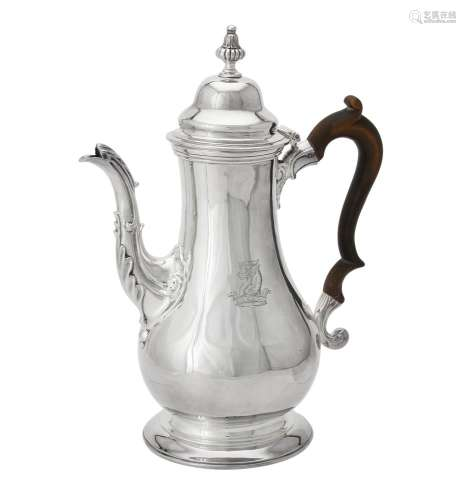 An early George III silver baluster coffee pot by Thomas Whi...