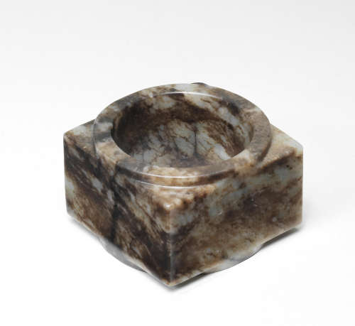 A RARE GREY AND RUSSET JADE CONG Neolithic Period/Shang Dyna...