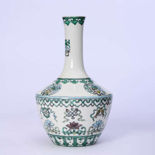 A Wucai Eight Immortals Bottle Vase