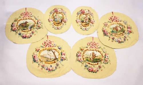 A SET OF FOUR LARGE FABRICS with animal, flowers and ribbons...