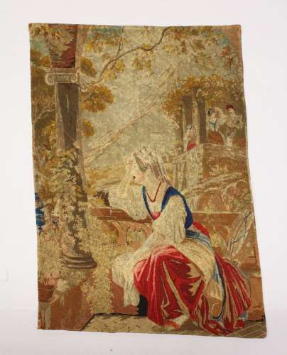 AN EARLY NEEDLEWORK FABRIC, lady seated beside an open windo...
